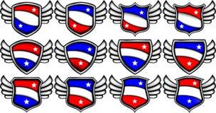 Lege emblemen met vleugels stock illustratie