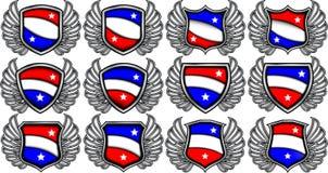 Lege emblemen met vleugels royalty-vrije illustratie