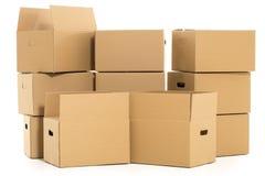 Lege en gesloten dozen op de witte achtergrond Stock Afbeelding