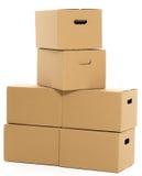 Lege en gesloten dozen op de witte achtergrond Royalty-vrije Stock Foto