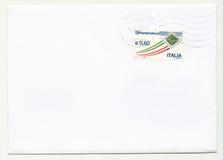 Lege envelop met zegel van Italië Stock Foto