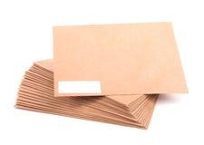 Lege enveloppen op witte achtergrond met het knippen van weg Royalty-vrije Stock Foto's