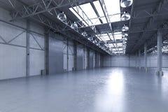 Lege fabriek met lampen Royalty-vrije Stock Afbeeldingen