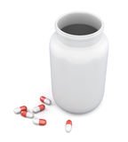 Lege fles en pillen op witte achtergrond 3d geef image Stock Foto's