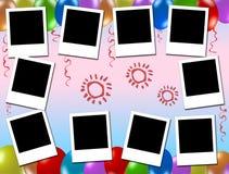 Lege fotoframes, jonge geitjespartij Stock Afbeeldingen