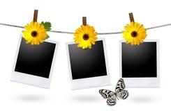 Lege fotoframes op een drooglijn Stock Afbeeldingen