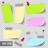 lege gekleurde documenten met toebehoren met vectortransparantie royalty-vrije illustratie