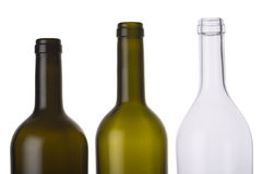 Lege gekleurde flessen stock foto