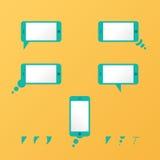 Lege gele de toespraakbellen van gadget Vectorsmartphone Royalty-vrije Stock Afbeeldingen