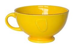 Lege gele die kop op wit wordt geïsoleerd stock foto