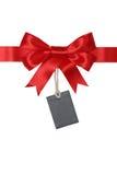 Lege giftmarkering met boog voor giften stock afbeelding