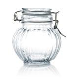 Lege glaskruik met deksel stock fotografie