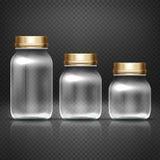 Lege glaskruiken met lods voor omakeuken het inblikken domeinen vectorreeks stock illustratie