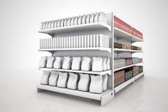 Lege goederen bij marktrek aan model uw merk Stock Foto