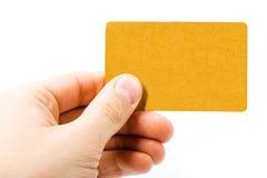Lege gouden kaart ter beschikking Stock Foto's