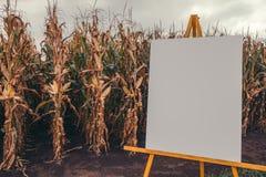 Lege grafiek noticeboard in cornfield royalty-vrije stock foto