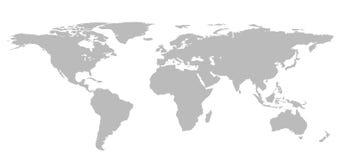 Lege Grey World-kaart die op witte achtergrond wordt geïsoleerd Infographics, Stock Afbeeldingen