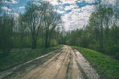 lege grintweg in het platteland in de zomerhitte - wijnoogst aangaande Royalty-vrije Stock Afbeelding