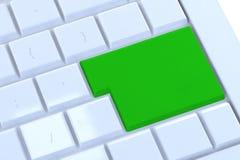 Lege groene knoop op het toetsenbord Stock Foto