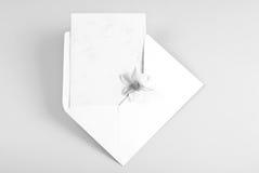 Lege groetkaart in envelop met bloem Royalty-vrije Stock Afbeelding