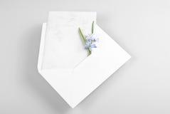Lege groetkaart in envelop met de lentebloemen Stock Fotografie