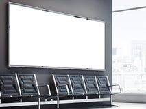 Lege grote banner in het wachten zaal het 3d teruggeven Stock Afbeelding