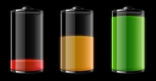 Lege, halfvolle en volledige batterij Royalty-vrije Stock Afbeeldingen
