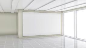 Lege handelstoonzaal met witte affiche Stock Foto's