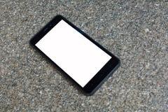 lege het schermtelefoon op een zwart-witte achtergrond royalty-vrije stock afbeelding