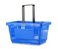 Lege het winkelen mand die op wit wordt geïsoleerde Stock Foto