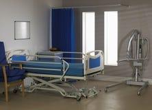lege het ziekenhuisafdeling met bedstoel en hijstoestel Stock Afbeeldingen