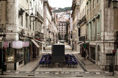 Lege historische straat van de oude stad Stock Fotografie