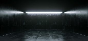 Lege hoog Gedetailleerde Concrete Grunge die Zaal met Lichte Stri kijken stock illustratie