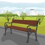 Lege houten bank in stadspark in de zomer vector illustratie