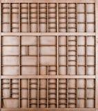 Lege houten bruine geschilderde zaad of brieven of collectibles vakje stock afbeeldingen