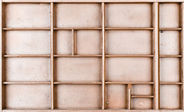 Lege houten bruine geschilderde zaad of brieven of collectibles vakje royalty-vrije stock afbeeldingen