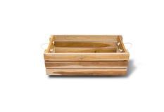 Lege houten die doos op witte achtergrond wordt geïsoleerd Royalty-vrije Stock Fotografie