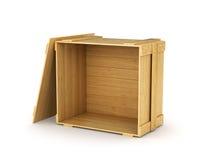 Lege houten doos met het deksel royalty-vrije stock afbeelding