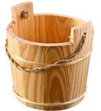 Lege houten emmer. Stock Afbeelding
