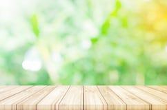 Lege houten lijstbovenkant met vage groene tuinachtergrond Royalty-vrije Stock Fotografie