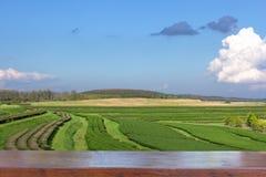 Lege houten lijstbovenkant op Landschapsmening van theeaanplanting met blauwe hemel in middag, Aardachtergrond stock afbeeldingen