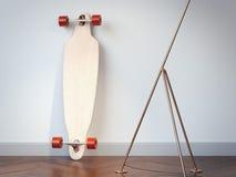 Lege houten longboard in het binnenland het 3d teruggeven Stock Fotografie