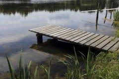 Lege houten pijler Stock Foto