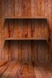 Lege houten plank. grunge industrieel binnenland stock afbeelding