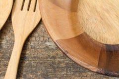 Lege houten schotel Stock Foto's