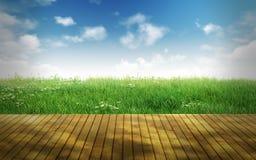 Lege houten vloer voor vertoningsmonteringen Stock Fotografie