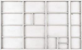 Lege houten witte geschilderde zaad of brieven of collectibles vakje stock fotografie