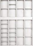 Lege houten witte geschilderde zaad of brieven of collectibles vakje royalty-vrije stock fotografie