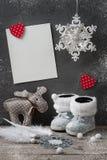 Lege kaart en Kerstmisdecoratie Royalty-vrije Stock Foto's