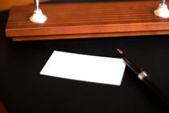 Lege kaart en pen Stock Afbeeldingen